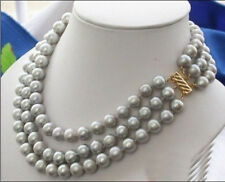 """triple strands 9-10mm natural Australian south sea gray pearl necklace 18"""" 14K"""