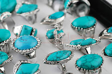 10Pcs Womens Mens Unisex Fashion Turquoise Crystal Silver Plated Gemstone Rings