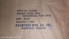 Korean War Medic Paper Blanket SN 7-157-895 Olive Drab