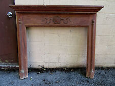 ~ ANTIQUE CARVED BUTTERNUT FIREPLACE MANTEL 42 OPENING ~ ARCHITECTURAL SALVAGE