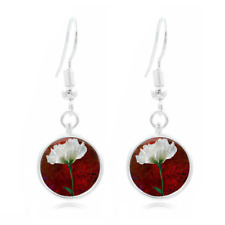 Rose glass FLOWER Earrings Art Photo Tibet silver Earring Jewelry #289