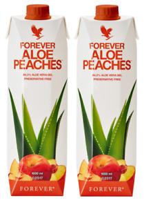 2x FOREVER ALOE Bits N Peaches Gel Peach Flavored Halal Kosher 33.8 Oz /1 L Each