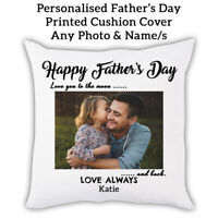 PERSONALISED PHOTO NAMES Fathers Day Gift Pillow Cushion cover Custom Print 0001