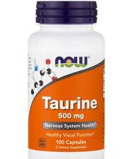 Taurine 500mg for Nervous System Health 100 Capsules by Now Free Shipping