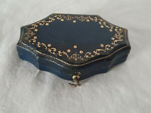 Antique Leather Brooch ,pin Jewellery box