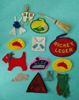 Handmade Homemade Curling Patches And Buttons Pins Broom Beaver Stone 1950s