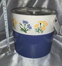 Vintage Georges Briard Ice Bucket With Lid Blue & White With Yellow Flowers Rare