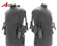Tactical Left Right Hand Gun Pistol Double Shoulder Holster Bag Airsoft Military