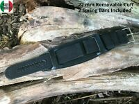 Marco Pallini 22mm Black Wide Nylon Cuff Watch Band Strap Military Watches