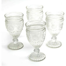 The Pioneer Woman Adeline Embossed 12-Ounce Footed Glass Goblets Set of 4 Clear