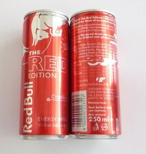 RED BULL can SINGAPORE Tall 250ml Promo 2015 Red Edition CRANBERRY Asia 13cm