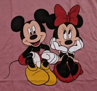 NWOT Women's Juniors Disney Minnie & Mickey Sitting Tank Top Blush Red MED