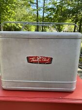 VINTAGE Silver Therma-a-chest Retro Metal Cooler w Plug