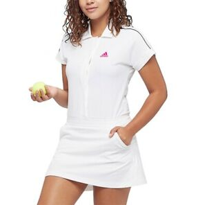Adidas Ladies Tennis Dress With Trousers Wimbledon Muguruza Sports Polo White/
