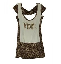 VDP Club Gym Couture Top Cap Sleeve Blouse Tank Leopard Animal Print Small S