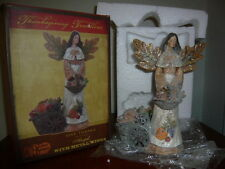 NIB Cracker Barrel Home Decor Give Thanks Angel with Metal Wings Thanksgiving!!