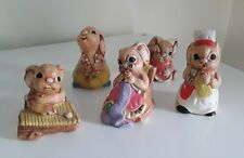Vintage Pendelfin Stoneware Bunny Rabbit Figurines Lot of 5 with Cosmetic Flaws