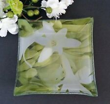 """Contemporary Flared Square Glass Accent Tray 4.5"""" Green & White Nature Kohl's"""