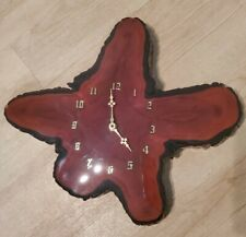 VINTAGE FLORIDA CYPRESS WOOD STUMP WALL CLOCK WITH RESIN COATING