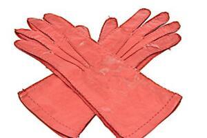 PRADA Red 100% Softest Lambskin Whipstitched GLOVES   Sz 7   Silk Lining