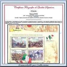 2010 Italia Repubblica Foglietto Spediz Mille Varietà Taglio Spostato Certif. **
