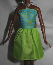 DRESS ONLY ~ BARBIE DOLL BLUE GREEN PRINT HALTER DRESS CASUAL COCKTAIL CLOTHING