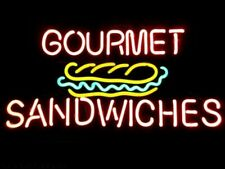 """New Gourmet Sandwiches Neon Light Sign 24""""x20"""" Lamp Poster Real Glass Beer Bar"""