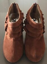 Unique OKI Tan Suede Look & Feel Stiletto Ankle Boots Size 35
