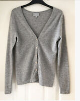Pure Collection Light Grey 100% Cashmere Cardigan Size UK 8  Soft Warm Classic