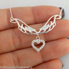 Angel Wings CZ Heart Necklace - 925 Sterling Silver - Angels Wing Memorial NEW