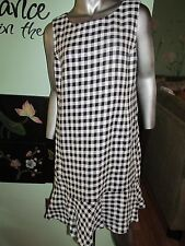 Ralph Lauren Black and White Checkered Dress with Ruffle Hem SZ 16