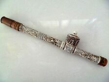 Collectibles Decorated Chinese handwork Carved Dragon old bone long smoking pipe