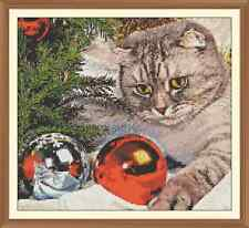 festive cat and baubles CROSS STITCH CHART  12.0  X 10.8Inches