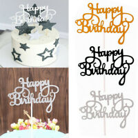 5/15Pcs Happy Birthday Cake Topper Glitter Paper Black Gold Silver Party Decors
