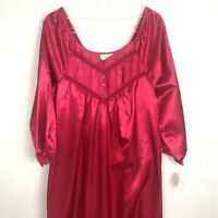 Vintage Elise Stevens Red Satin Gown Small Jersey Lined Lace Trim Nightgown New