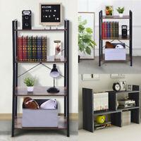 4-Shelf Vintage Industrial Bookcase,Wood and Metal Open Bookshelf Antique Nutmeg