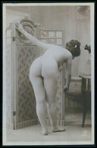French nude woman bending big butt screen original c1910-1920s photo postcard