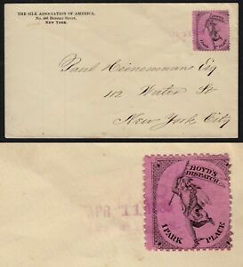 BOYD'S DISPATCH LOCAL #20L56 1c PINK TIED BY HANDSTAMP ON 1885 C0VER.