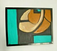 Mid Century Modern Style Abstract Expressionist Oil Painting Signed Frame canvas