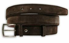 Mens Full Suede Belt Real Genuine Leather Belts Buckle Trouser Size 32-42