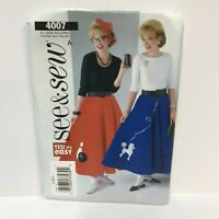 Uncut See & Sew Sewing Pattern 4007 Bowling Poodle Skirt Costume Petticoat S M L