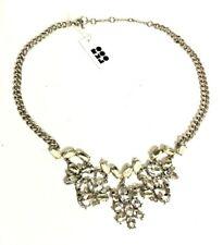 Romolo Cami Bib Statement Necklace Clear Champagne Rhinestones Silver Plated