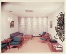 Vintage Old 1960's Commercial Color Photo of Model Showroom Mod Furniture