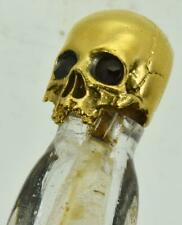 ONE OF A KIND Victorian hand cut mountain crystal Poison bottle.Skull cap.UNIQUE