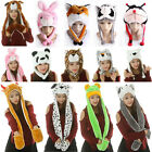 3 in 1 Winter Warm Plush Cute Animal Hat Cap Earmuff Full Hoodie Scarf Mittens