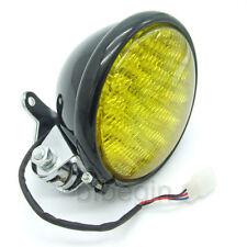 "5"" Black Motorcycle LED Headlight Yellow lens Touring For Harley Chopper Bobber"