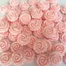 12 PINK BLUSH ROSES Edible Sugar Paste Flowers Cake Decorations Toppers Wedding