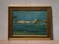 Olio su tavoletta Paesaggio 1958 Pittore campano