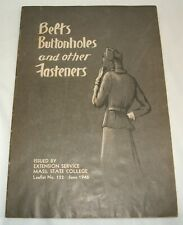 Belts Buttonholes and Other Fasteners Sewing Leaflet No.122 1946 Vintage