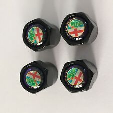 Alfa Romeo Black Dust Caps Valve Covers for Wheel Tyre Set of 4 Dustcaps Cap